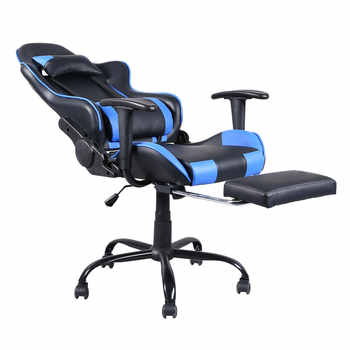 Gaming Chair Office Desk Chairs Racing Gaming Chair Office Chair with Footrest Tier Computer Chair Heavy-duty Chairs Black Blue