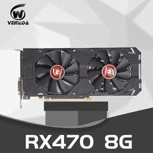 비디오 카드 Radeon RX 470 8GB 256Bit GDDR5 rx 470 PCI Express 3.0x16 AM 데스크탑 게임 그래픽 카드 호환 rx 580