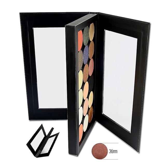 Palette อายแชโดว์ที่ว่างเปล่าแม่เหล็กสองด้านสีดำขนาดใหญ่ Naked Eye Shadow แต่งหน้า Palette DIY Refill 36*36 มม.กระทะ