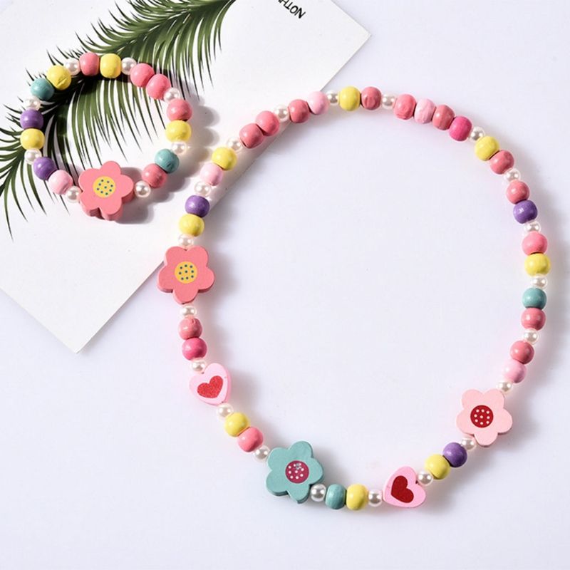 1 Set Children Jewelry Cartoon Necklace Bracelet Kids Candy Color Girls Gifts