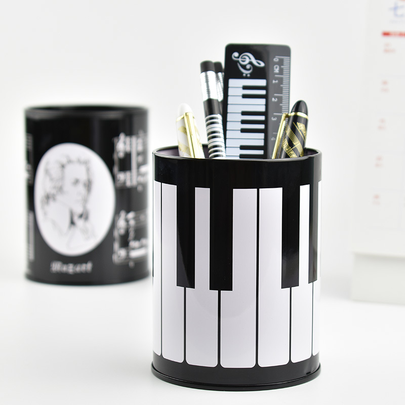 Metal Stand Pen Holder Desk Organizer Office Round Cosmetic Pencil Pen Holders Music Stationery Storage Container