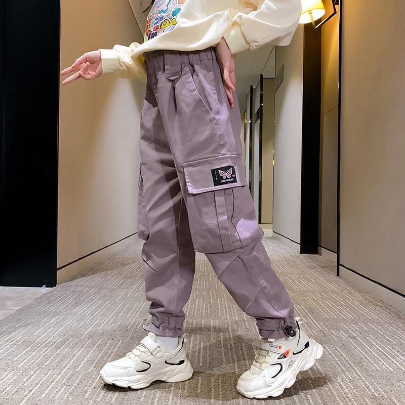 New Arrival Kids Cotton Trousers 3-13 Girls Cargo Pants Hip hop Autumn Child Clothes Elastic Waist Teen Side Pocket Jogger Pants