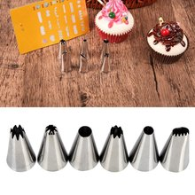 6pcs Rose Cream Icing Piping Tips Cake Decoration Set Pastry Nozzles Tools Sugarcraft Bakeware Cupcake Z