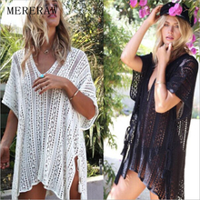Swimsuit blouse Europe and the United States explosion models swimwear bikini blouse knitted beach sun protection clothing 2019 explosion models europe and the united states sling v neck long dress print chiffon backless beach high quality