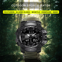 الرياضة ساعة رجالي 50 متر البوصلة متعددة الوظائف العسكرية المعصم LCD ساعة توقيت رقمية المطاط مقاوم للماء مضيئة ساعة معصم