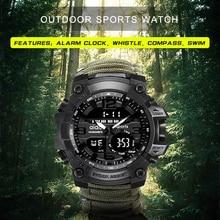 Reloj deportivo para hombre 50m brújula multifunción relojes de pulsera militares LCD cronómetro Digital de goma impermeable reloj de pulsera luminoso