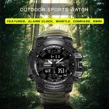 Sports Men's watch 50m Compass Multifunction Military Wristwatches LCD Digital Stopwatch  Rubber Waterproof Luminous wrist watch