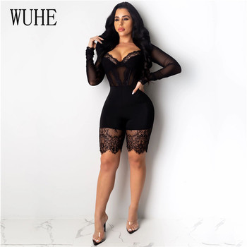 WUHE Lace Patchwork Sexy Spaghetti Strap Jumpsuits Women Off Shoulder Sleeveless Elegant Bodycon Bandage Party Short Playsuits 2