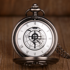 Антикварный Стальной алхимик Эдвард Элрик Косплей кварцевые карманные часы с подвеской ожерелье для мужчин и женщин Fob часы