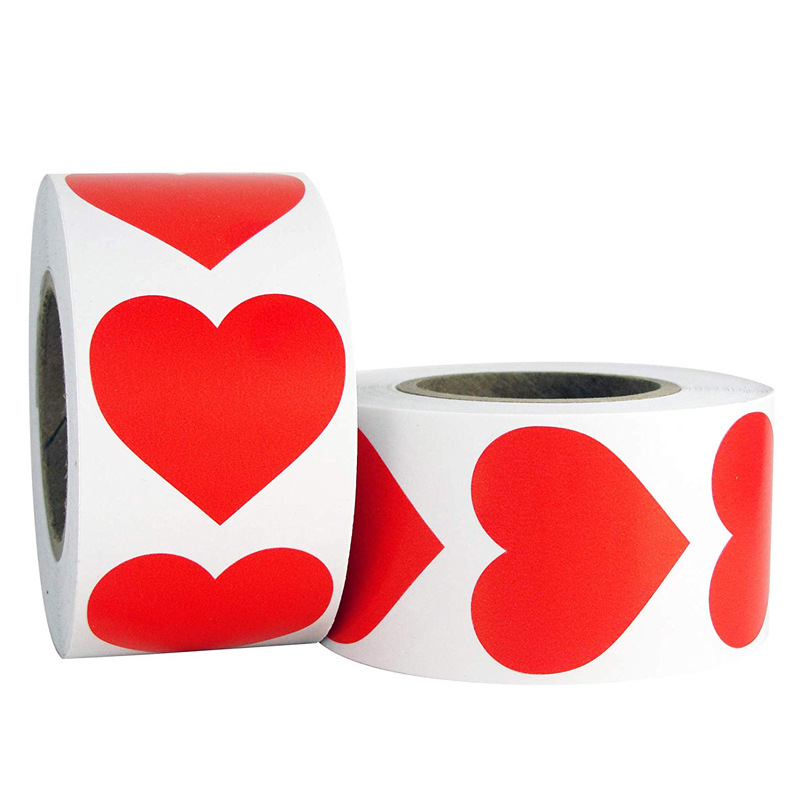 500pcs Red Heart Paper Self-adhesive Stickers  Stick-On Label Flower Packing Envelope Seal-Sticker Scrapbooking Craft Supplies
