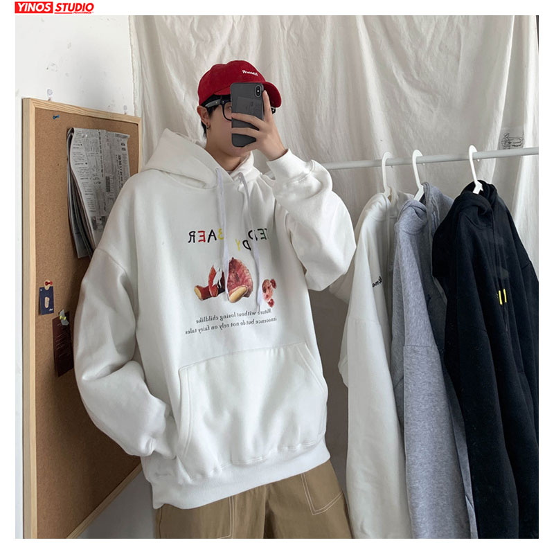 Dropshipping 2020 Spring Long Sleeve Hooded Hoodies Causal Cotton Pullover Mens Cartoon Print Oversizes Sweatshirts Male
