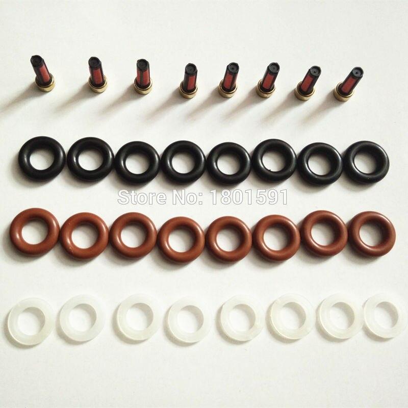 Hele koop 8set Brandstof injector reparatie kit filters oringen caps voor Mercedes g500 motor m113 112 0280156153 0280155744 0280156014