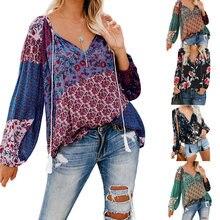 Женские топы в стиле бохо рубашка с цветочным принтом весенне