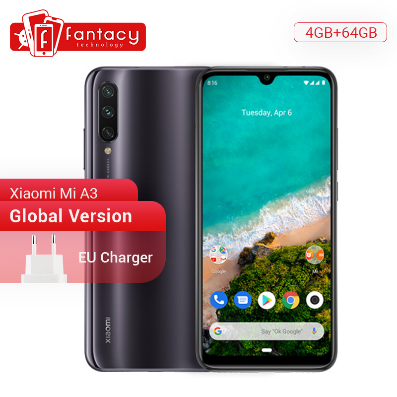 "Global Version Xiaomi Mi A3 MiA3 4GB 64GB Mobile Phone Snapdragon 665 48MP Triple Camera 32MP Front Camera 6.088"" AMOLED Screen"
