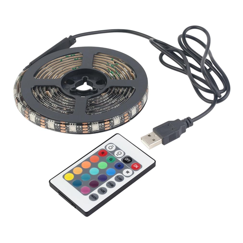 12 RGB 5050 SMD LED Strip Lamps Waterproof Flexible LED Tape Light USB 5V Christmas Decoration Lamp Black Strip Light Hot Sale