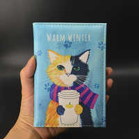 Cute Cat Passport Cover Travel Wallet Pu Leather Case for Passports Travel Document Organizer Pasjeshouder Passport Protector