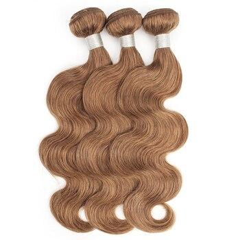 Kisshair color #30 wiązki włosów średnie kasztanowe 16 do 24 cali wstępnie kolorowe ciało fala non remy brazylijski ludzki do przedłużania włosów