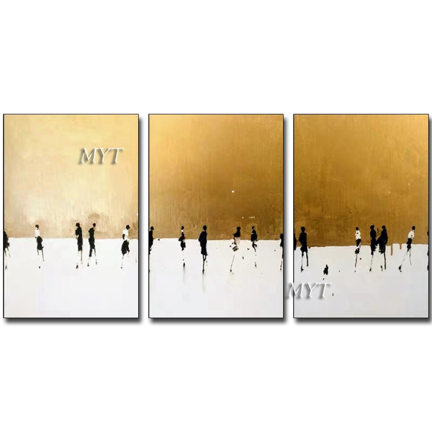 3 Panels Hand-painted Gold Foil Abstract Wall Art Modern Canvas Oil Painting Wall Picture Paintings Artwork For Home Decoration