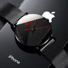 2020 минималистский мужской% 27 мода часы простой мужской деловой ультра тонкий нержавеющая сталь сетка пояс кварц часы relogio masculino
