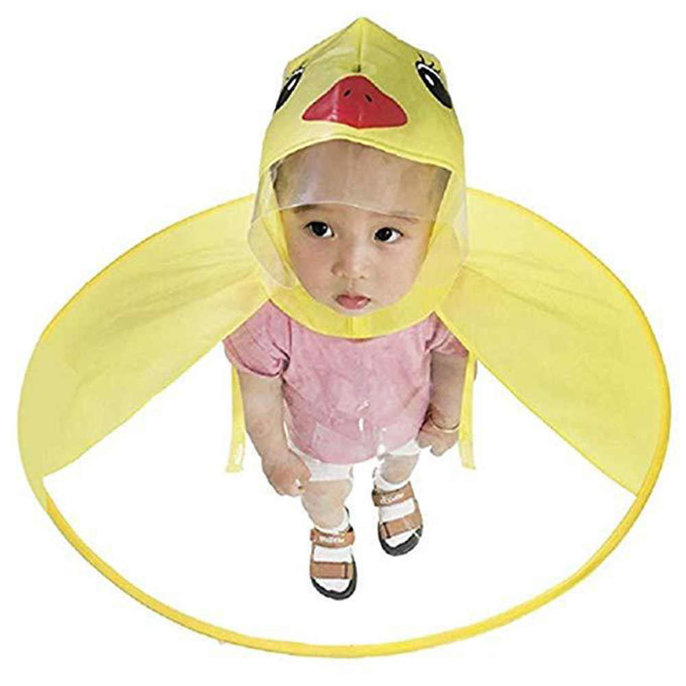 Креативная непромокаемая шляпа с рисунком утки, складной детский плащ, накидка-зонтик, милое дождевик, универсальный плащ для мальчиков и девочек