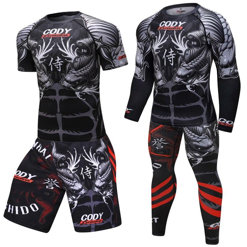 Men T Shirt+Pants MMA Boxing Muay Thai Shorts Kickboxing Suit Boxeo Fitness Sport Suits Jersey Jiu Jitsu T-shirt Brand Clothing