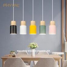 Modern kolye ışıkları Nordic ahşap ışık Loft kolye lambaları E27 220V yemek odası için ev dekorasyon restoran lamba otel