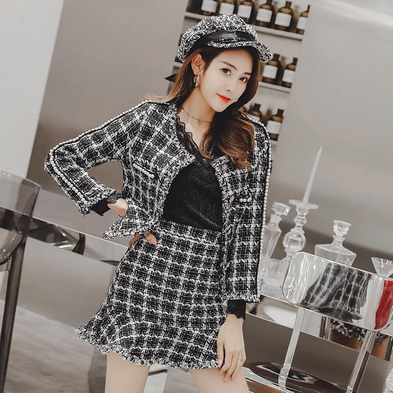 2019 Tweed Set Suit Autumn Winter Runway Women's Single Breasted Short Jacket Coat + High Waist Tassels Slimming Mini Skirt Set