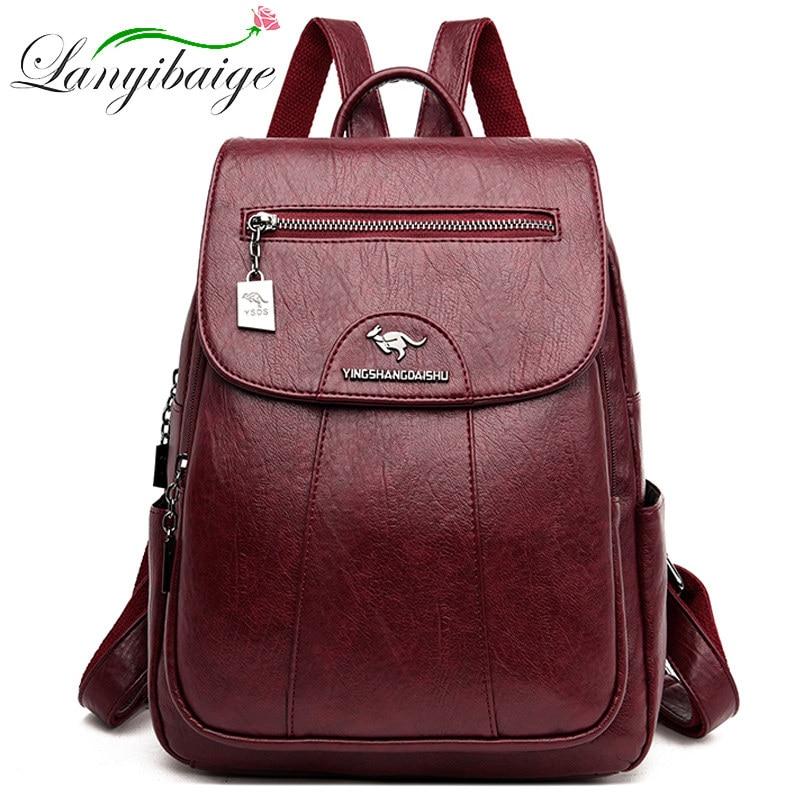 Simple Style Women PU Leather Backpack Women Famous Brand School Backpacks For Girls Daypacks Ladys Backpack Mochila Feminina