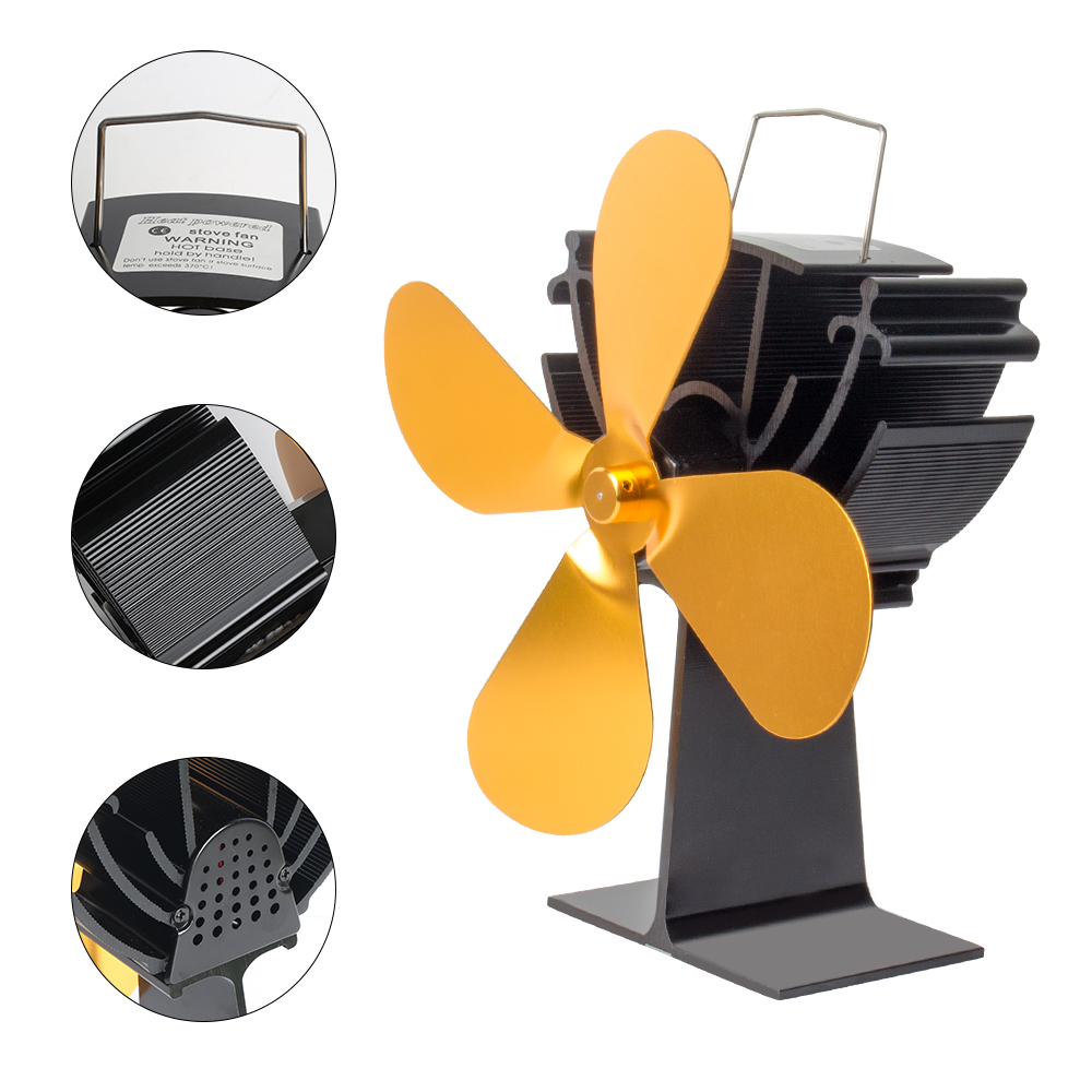 Efficient 4 Blade Heat Powered Stove Fan Log Wood Burner Eco Friendly Quiet Home Fireplace Fan Heat Distribution Fuel Saving
