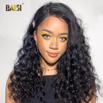 BAISI 360 dantel Frontal peruk dantel ön İnsan saçı peruk s ön-koparıp Hairline İnsan saçı peruk doğal dalga peruk brezilyalı saç