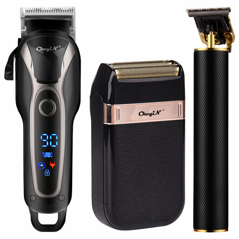 Professional Electric Hair Clipper Rechargeable T-blade Hair Trimmer 0mm Baldheaded For Men Haircut Machine Kit Shaver Trimmer