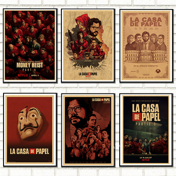 2020 Spanish suspense movie La casa de papel retro style kraft paper poster banknote house wall wall art decoration poster image