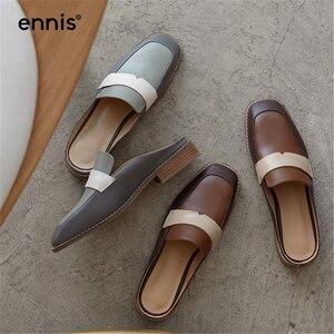 Женские туфли без задника ENNIS, коричневые, синие шлепанцы из натуральной кожи с круглым носком, весна-лето 2019