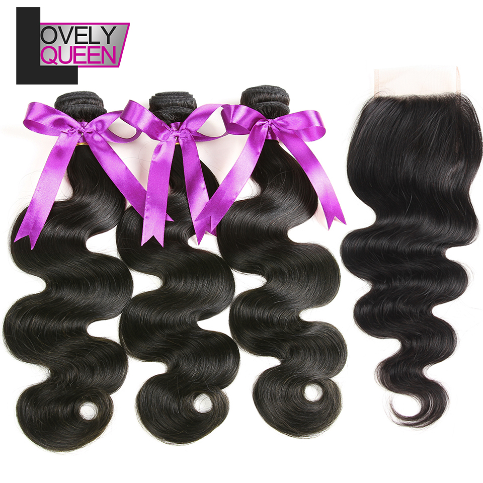 Lovely Queen Hair Human Hair Weaves Brazilian Body Wave With Closure 3 Bundles With Closure For Black Women
