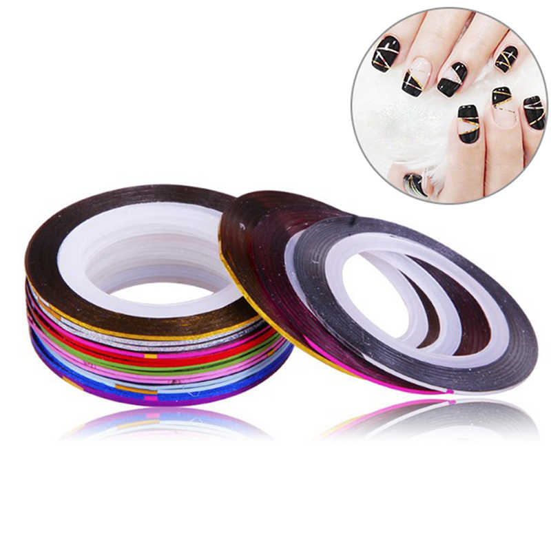 30 Pcs Dicampur Warna Kuku Rolls Striping Tape Line DIY Nail Art Tips Dekorasi Sticker Kuku Perawatan Gel Polandia Dekorasi