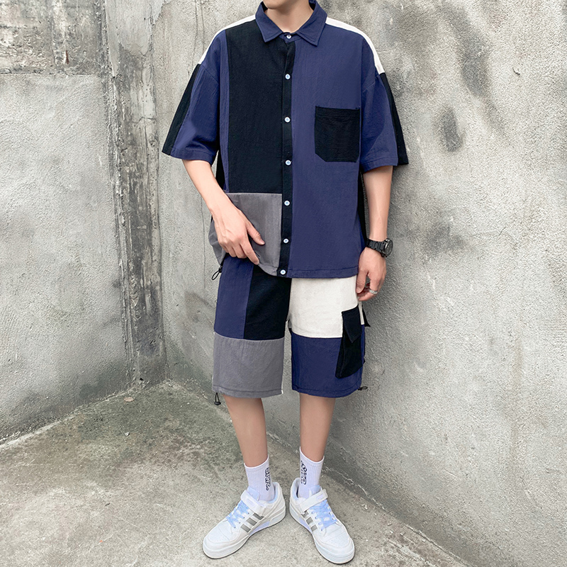 <font><b>Men's</b></font> Set Clothing <font><b>Shirt</b></font> Shorts Patchwork Pocket <font><b>Korean</b></font> <font><b>Style</b></font> Summer <font><b>Oversized</b></font> Casual Short Sleeve <font><b>Shirts</b></font> Knee-Length Pants image