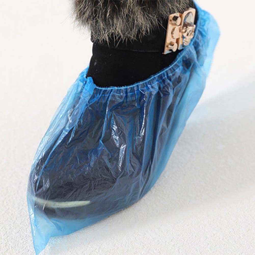 Tampa descartável impermeável de sapato, cobertura de calçados em plástico à prova de poeira, para dias de chuva ao ar livre e dentro de casa, 200 peças