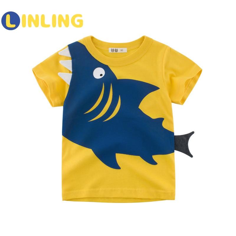LINLING Children Summer Clothing Baby Boys T Shirt Cotton Shark Short Sleeve Tops Boy Casual Sport T-shirt 2-8Y Kids Shirts V59 2