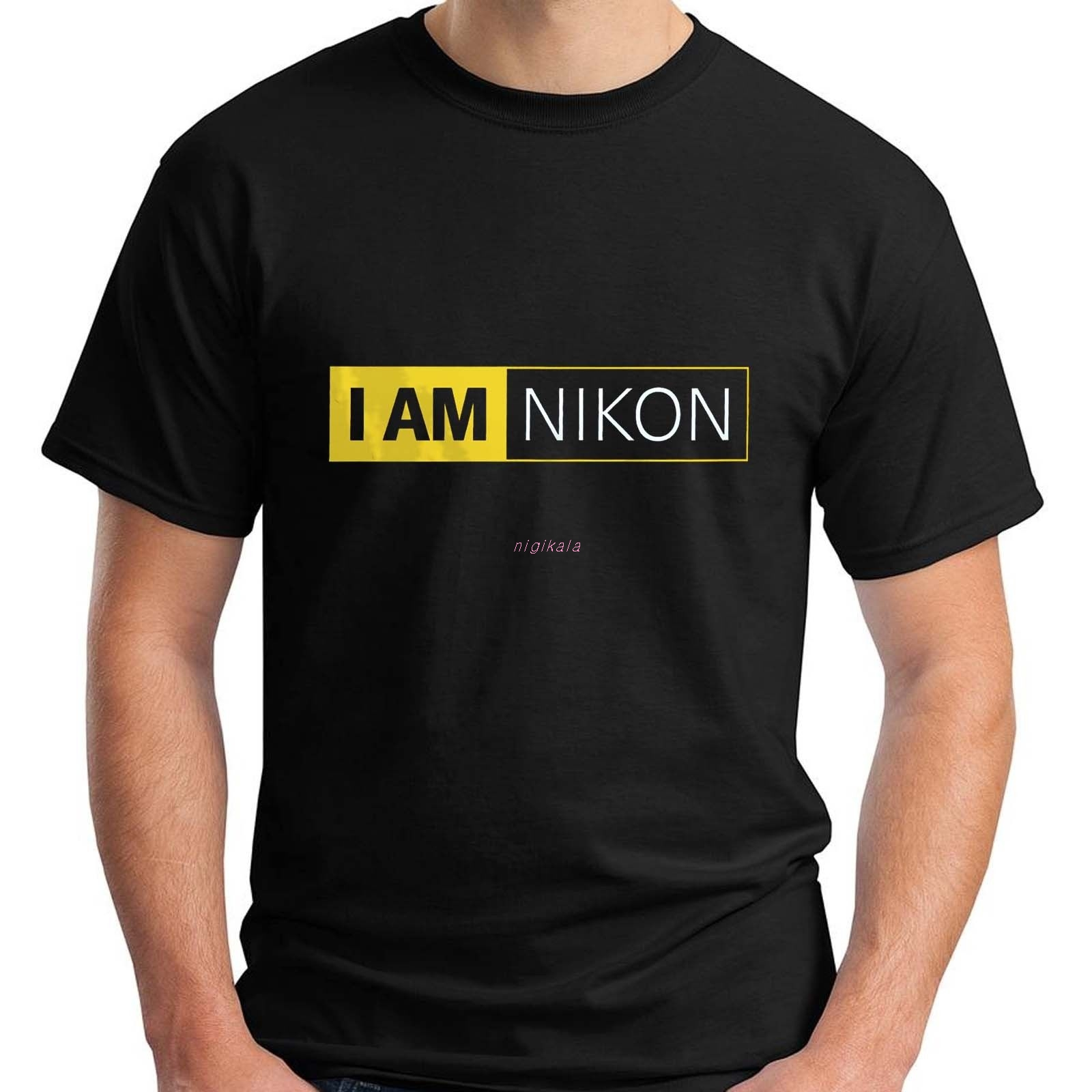New I AM NIKON - Camera Logo Black Men's T-Shirt Size S-3XL Hip Hop  Funny T Shirts Streetwear