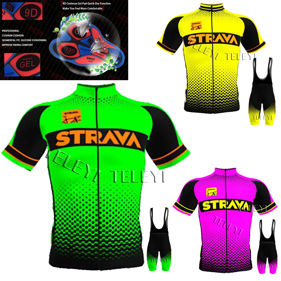 2020 STRAVA Cycling Jersey Set Men's Style Short Sleeves Cycling Clothing Sportswear Outdoor Mtb Ropa Ciclismo Bike Cycling Kits