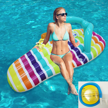 цена на Inflatable Floating Row Floating Bed Outdoor Rainbow Swimming Ring Water Hammock Party Toy New Foldable Swimming Pool Floating