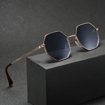 Higodoy Polygon Sunglasses Men Vintage Octagon Metal Sunglasses for Women Luxury Brand Goggle Sun Glasses Ladies Gafas De Sol 1