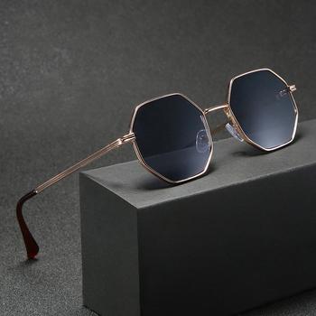 Higodoy okulary przeciwsłoneczne z oprawkami w kształcie wieloboku mężczyźni Vintage Octagon metalowe okulary przeciwsłoneczne dla kobiet luksusowych marek okulary przeciwsłoneczne damskie Gafas De Sol tanie i dobre opinie CN (pochodzenie) Gogle Dla dorosłych Stop Lustro UV400 46mm Żywica DB59 50mm