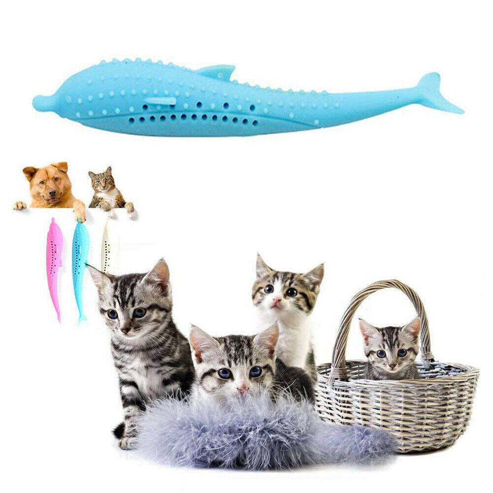 Fish Shape Soft Pet Kitten Cats Toothbrush Catnip Molar Bite-Resistant Chew Toy 2020 image