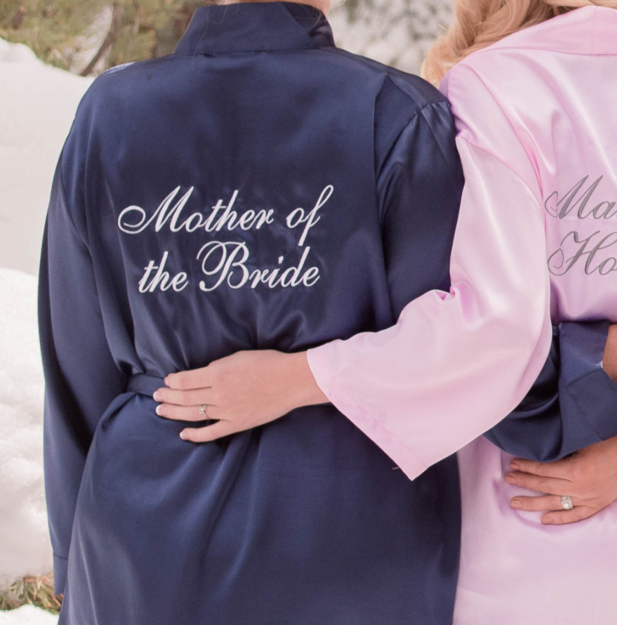 Gepersonaliseerde Moeder Van De Bruid Kimono Gewaad Bruids Badjas Satin Bruidsmeisje Nachtkleding Custom Zus Van Bruid Jurk Gewaad Zijde