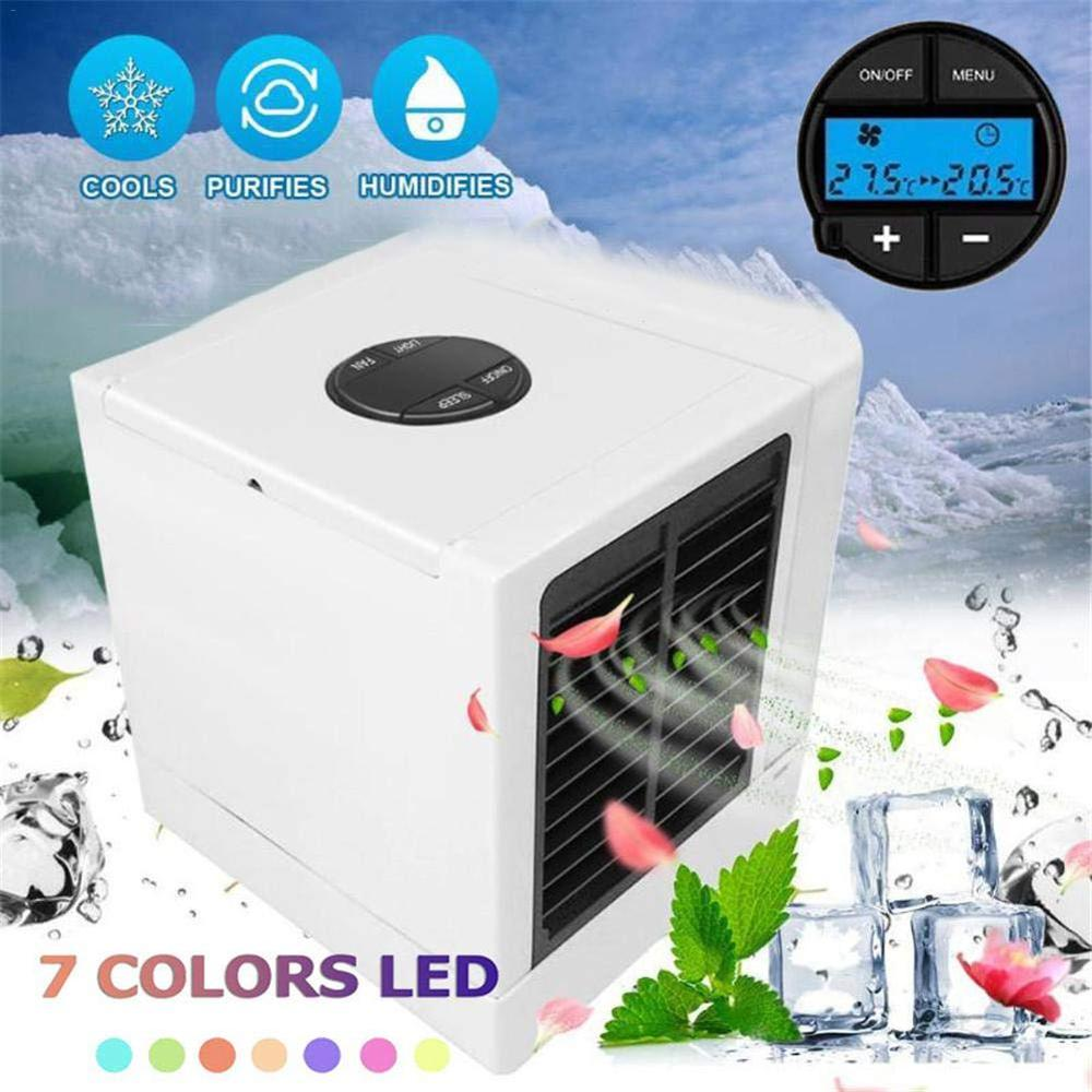 USB LCD Mini Air Conditioner Humidifier Purifier Light Portable Air Cooling Desktop Water Air Cooler Fan For Office Home 7 Color