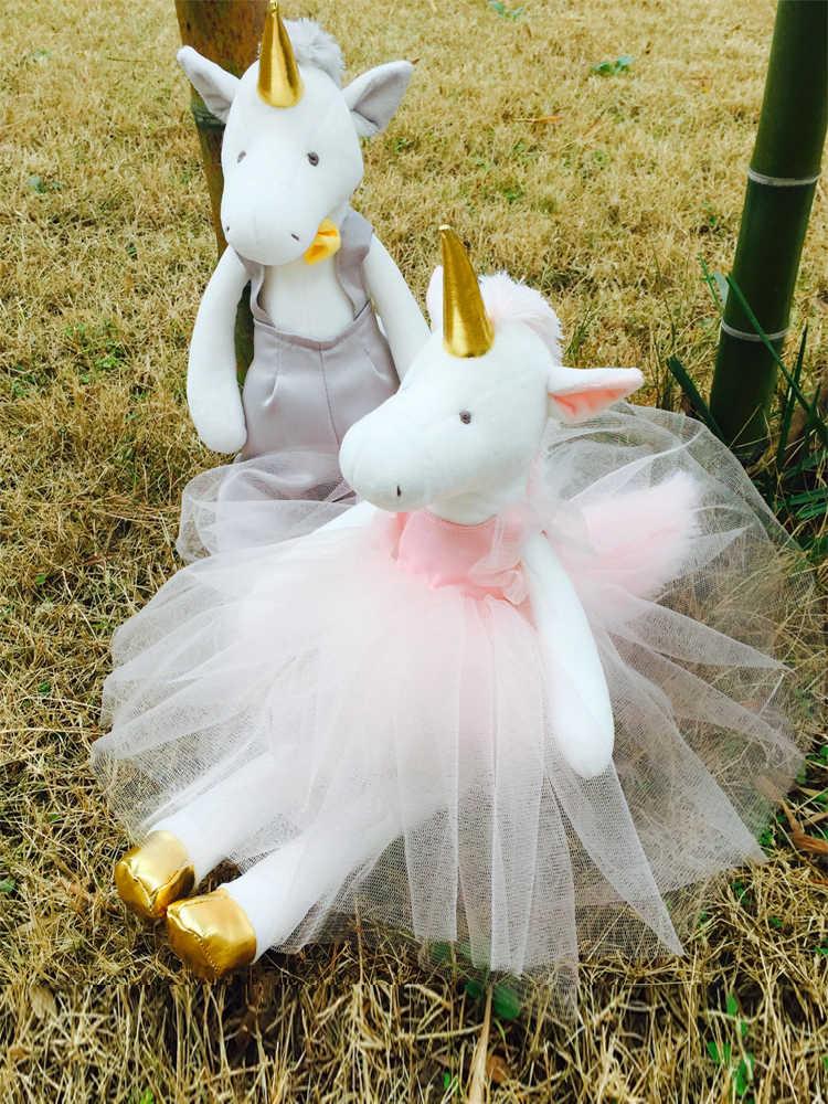 Luksusowe ubrane pluszowe jednorożce z odpinanymi ubraniami najlepszy prezent dla panna młoda i pan młody ślub wystrój jednorożca mężczyzna i kobieta lalka