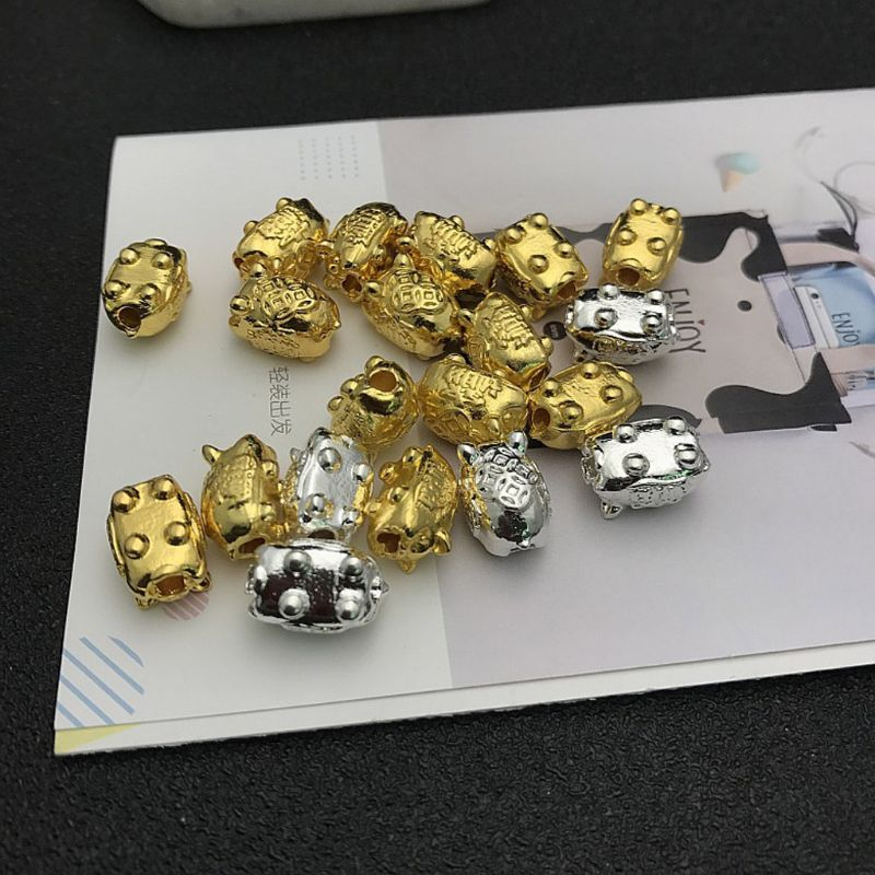 10Pcs Lucky Blessing Pig Pendant Pig Beads Bracelet Small Chrams Jewelry Making