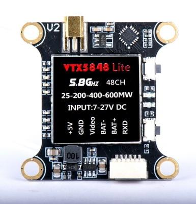 Переключаемый модуль видеопередатчика VTX5848 LITE 48CH 5,8G 25/100/200/400/600 мВт VTX, OSD управление для FPV