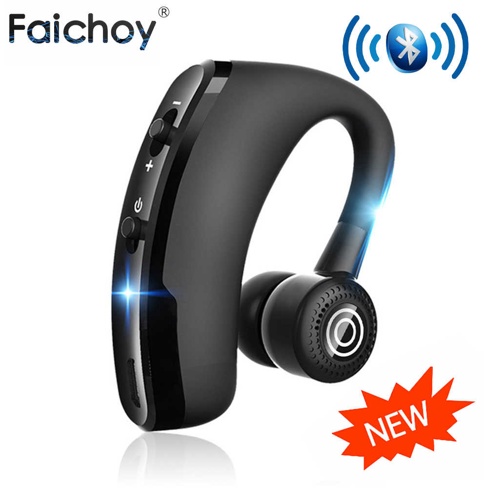 Faichoy V9 Headphone Handsfree Headset Earphone Bluetooth Nirkabel Earbud dengan Mikrofon HD dengan MIC untuk Driver Olahraga